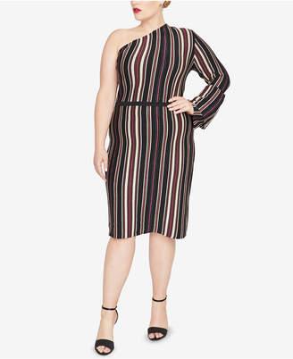 Rachel Roy Trendy Plus Size One-Shoulder Sweater Dress