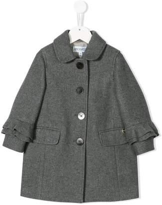 Simonetta ruffle sleeve single-breasted coat