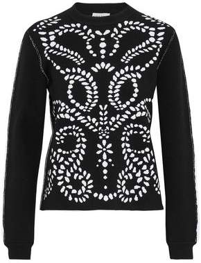 Sonia Rykiel Ruffle-Trimmed Two-Tone Jacquard-Knit Sweater