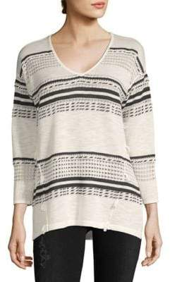 August Silk Multi-Stripe V-neck Sweater