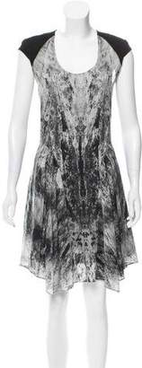 Helmut Lang Leather-Accented Silk Dress