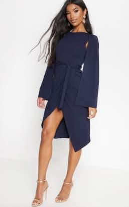 PrettyLittleThing Navy Cape Style Wrap Midi Dress