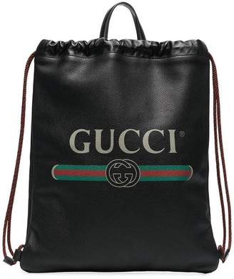 Gucci black leather drawstring backpack bag