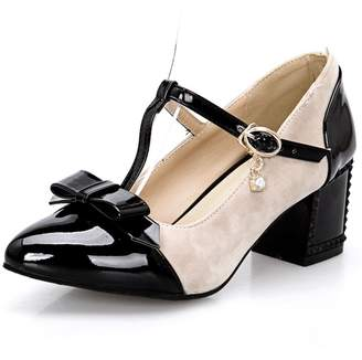 dbf37155a0e DecoStain Women s Bow Tie Patent Leather Suede T-Bar Mary Janes Block Mid  Heel Pumps