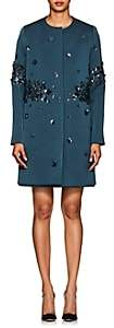 Zac Posen Women's Embellished Gazar Collarless Coat - Blue