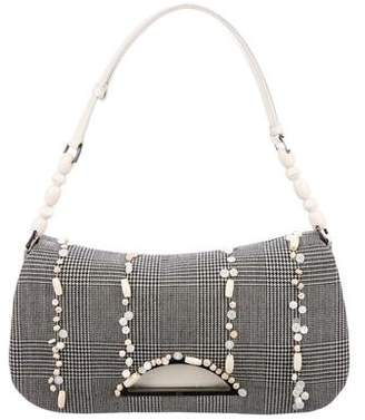 Christian Dior Woven Houndstooth Handle Bag