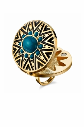 House of Harlow 1960 Tribal Locket Ring in Turquoise