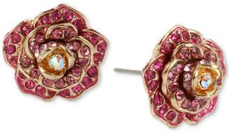 Betsey Johnson Gold-Tone Pave Rose Stud Earrings