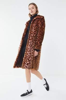 02a9a6f34e51 at Urban Outfitters · AVEC LES FILLES Leopard Print Faux Fur Car Coat