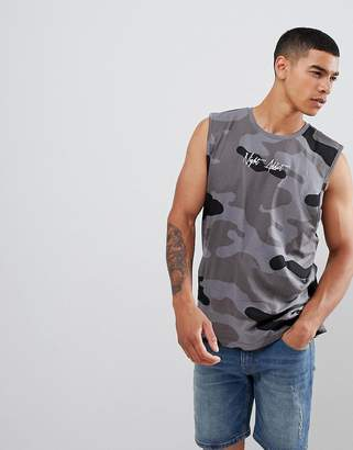 Night Addict Logo Oversized Camo Singlet