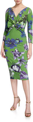 Chiara Boni Floral V-Neck Knot-Front 3/4-Sleeve Dress