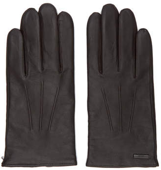 BOSS Brown Leather Hainz 2 Gloves
