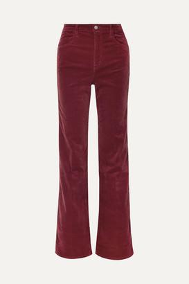 J Brand Joan Velvet Wide-leg Pants - Claret