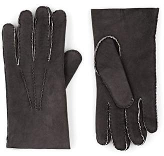 Barneys New York MEN'S SHEARLING-LINED LEATHER GLOVES - GRAY SIZE 10