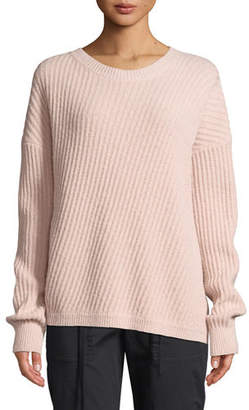 Vince Side-Slit Wool Crewneck Pullover Sweater