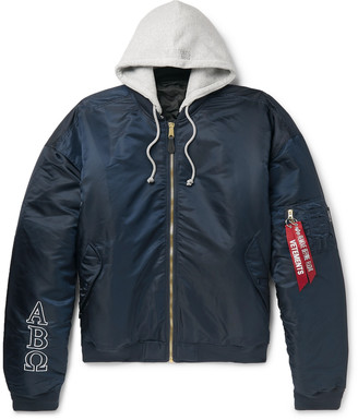 Vetements + Alpha Industries Oversized Reversible Embroidered Shell Hooded Bomber Jacket