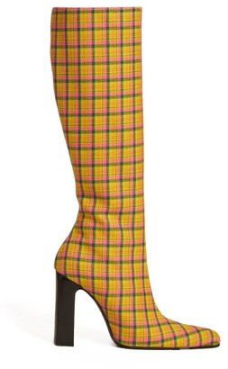 Balenciaga Block Heel Checked Wool Boots - Womens - Yellow Multi