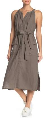 Joie Edelie Tie Waist Sleeveless Linen Dress