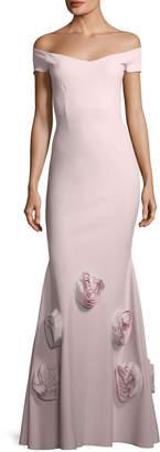Chiara Boni Lobelia Asymmetric Rose Mermaid Gown