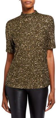Lafayette 148 New York Charis Shimmering Sequins Mock-Neck Blouse