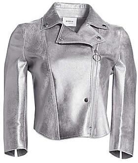 Akris Punto Women's Metallic Leather Perforated Biker Jacket