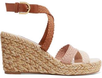 Stuart Weitzman Elsie Woven Leather Espadrille Wedge Sandals - Neutral