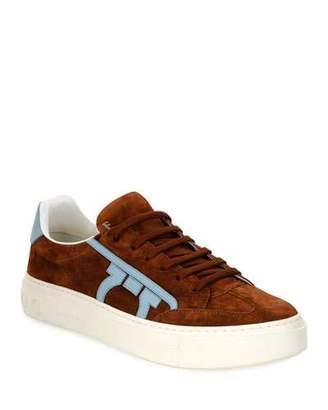 Salvatore Ferragamo Men's Borg 2 Suede/Leather Gancio Sneakers