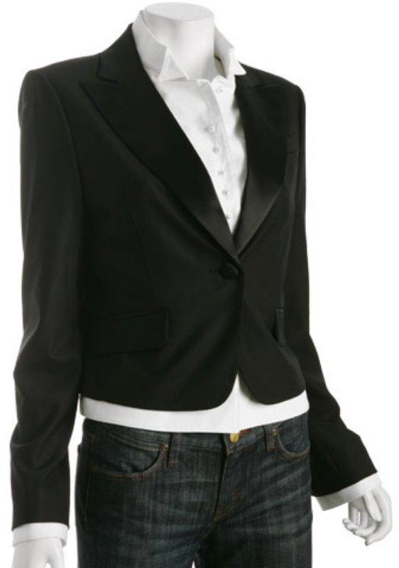 BCBGMAXAZRIA black wool shirt inset tuxedo jacket