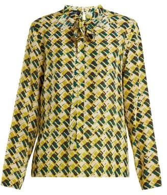 Rochas - Geometric Print Silk Pussybow Blouse - Womens - Green Print