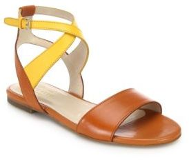 Cole Haan Fenley Two-Tone Leather Ankle-Wrap Sandals $150 thestylecure.com