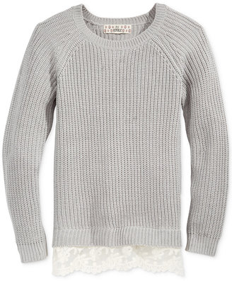 Pink Republic Textured Lace-Trim Sweater, Girls (7-16) $40 thestylecure.com