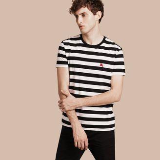 Burberry Striped Cotton T-Shirt $75 thestylecure.com