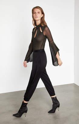 BCBGMAXAZRIA Metallic Cutout Bodysuit
