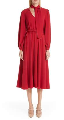 Co Tie Neck Crepe Dress