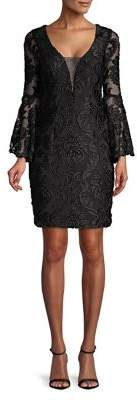 Betsy & Adam V-Neck Illusion Lace Sheath Dress