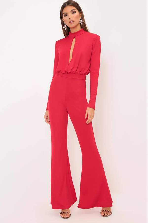 Isawitfirst Red Key Hole Flare Leg Jumpsuit