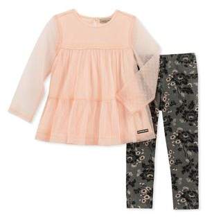 Calvin Klein Little Girl's Two-Piece Mesh Tunic and Floral Leggings Set
