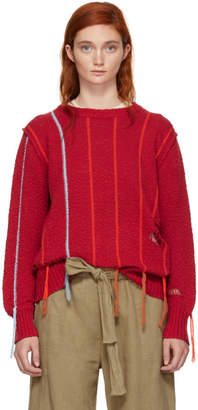Raquel Allegra Red Striped Fringe Sweater