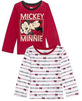 Minnie Mouse Mickey and Minnie Kiss Long Sleeve Graphic T-shirts 2pk (Baby Girls & Toddler Girls)