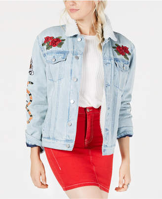 KENDALL + KYLIE Embroidered Pile-Trim Trucker Jacket