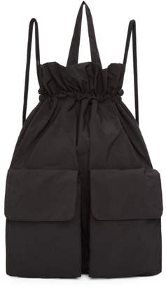 Ys Black Taffeta Drawstring Backpack