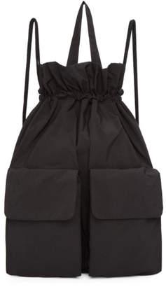 Y's Ys Black Taffeta Drawstring Backpack