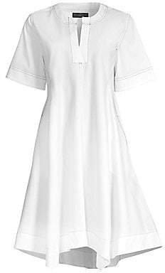 Donna Karan Women's Contrast Stitched V-Neck Trapeze Dress - Size 0
