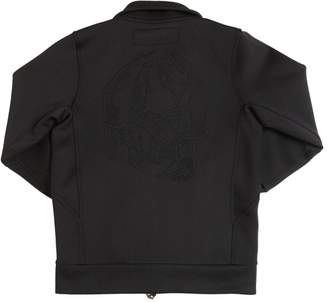 Skull Embroidered Stretch Track Jacket