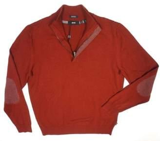 HUGO BOSS Mens Enricco Wool Blend Mock Neck 1/2 Zip Sweater Orange L