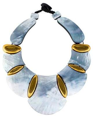 Viktoria Hayman Mother of Pearl & Resin Collar Necklace