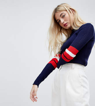 Daisy Street Knitted Sweater With Sports Stripe