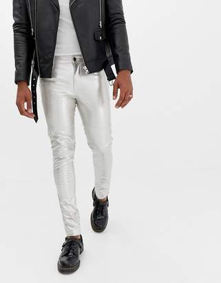 Asos Design DESIGN super skinny jeans in silver leather look