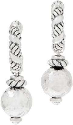 Jai JAI Sterling Silver Hoop Earrings with Hammered Bead Drop