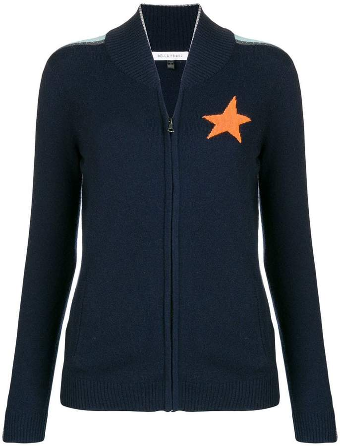 star knitted zip up jacket